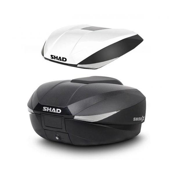 Μπαγκαζιέρα μοτοσυκλέτας με δώρο εξτρά λευκό καπάκι EXPANDABLE SHAD Carbon 58 LT