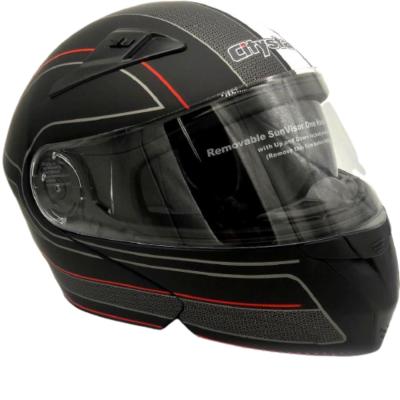 Κράνος 2XL Μαύρο ματ με λουρίδα λευκή/κόκκινη CITYSTAR 906
