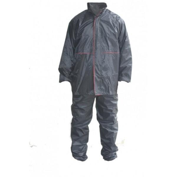 Αδιάβροχο σετ μαύρο με κόκκινη ρίγα A501 MODEKA